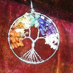 Rainbow-Rock Tree, necklace pendant, wire + stone